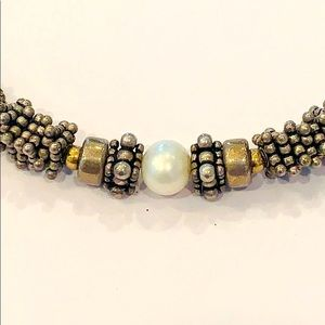 Sterling silver bead natural pearl toggle clasp